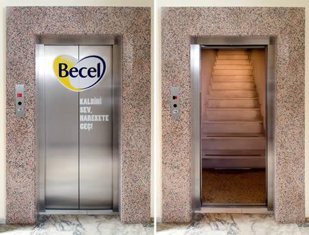エレベーターを使った広告3