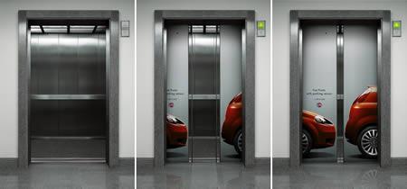 エレベーターを使った広告9