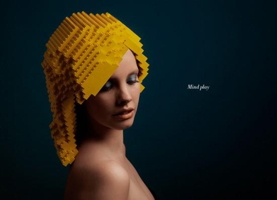 レゴブロックを使ってつくった美しいカツラ3
