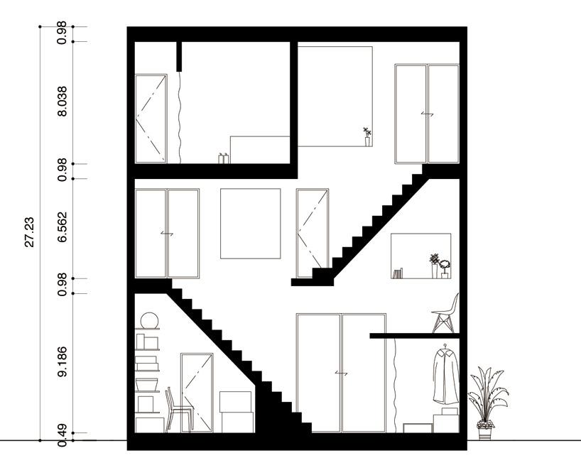 東京都、根津の狭小住宅「大きなすきまのある生活」15