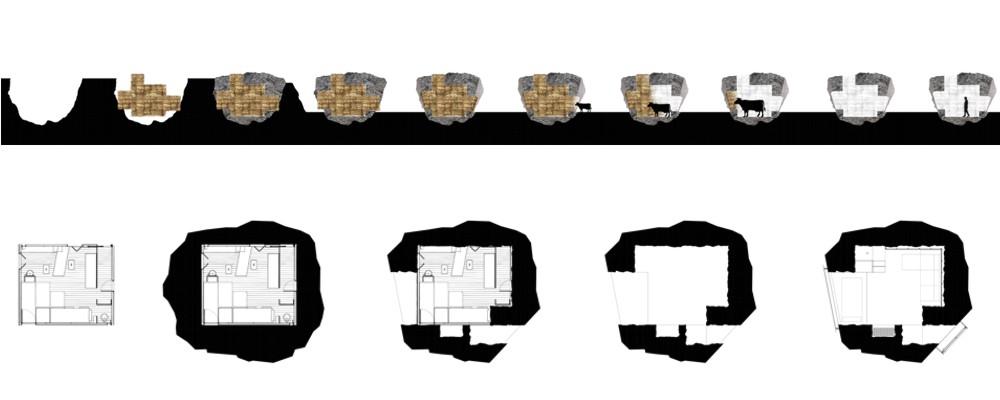 土の中から発掘されたトリュフのようにつくられた、原始人が住んでいそうな住宅