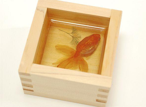 金魚酒 Kingyo sake :2003~ 木曽檜の一合枡、難黄変透明樹脂(2008より) 85×85×55mm