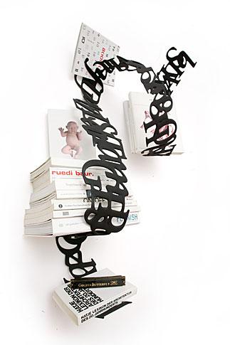 文字で出来た本棚Between Lines2