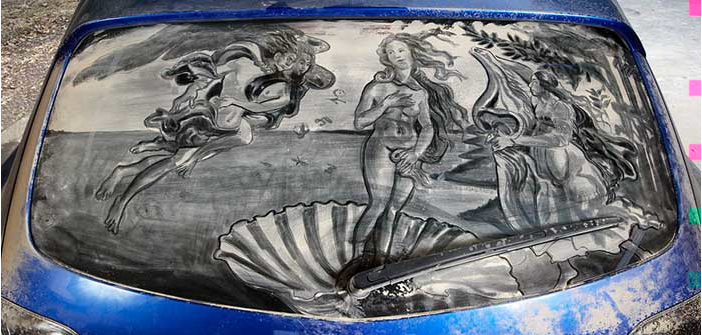 汚れた車に絵を描いた作品「Dirty Car Art」9
