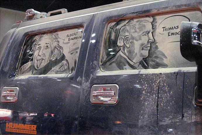 汚れた車に絵を描いた作品「Dirty Car Art」11