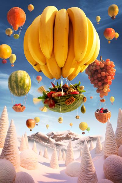 Banana-Balloon すべて食べ物でつくった風景写真5