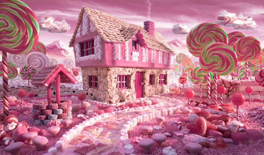 Candy-Cottage すべてが食べ物で出来ている風景画24
