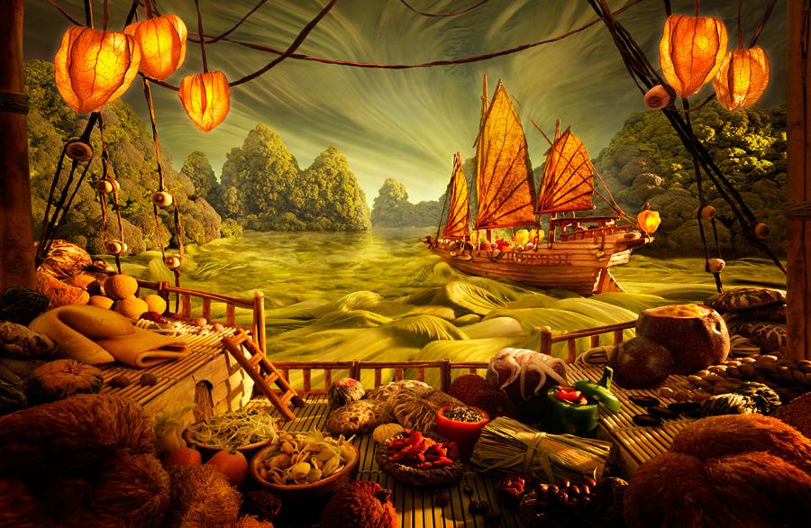 Chinese-Junk すべてが食べ物で出来ている風景画23