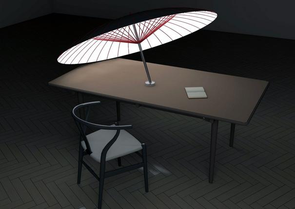 昼間蓄えたソーラーエネルギーにより夜はライトになる傘