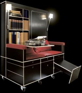 読書好きにはたまらない本棚と机とソファーが一体化になったソファー「Lese+Lebe」2