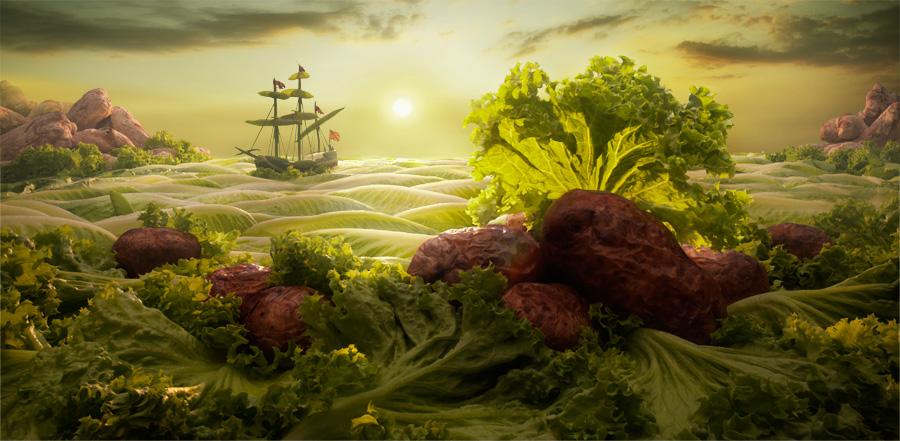 Lettuce-Seascape2 すべてが食べ物で出来ている風景画33