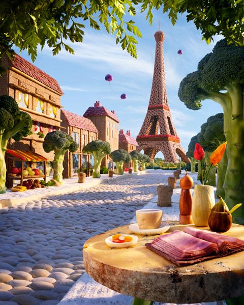 Paris-Boulevard1 すべて食べ物でつくった風景写真16