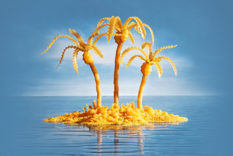 Pasta-Island すべて食べ物でつくった風景写真1