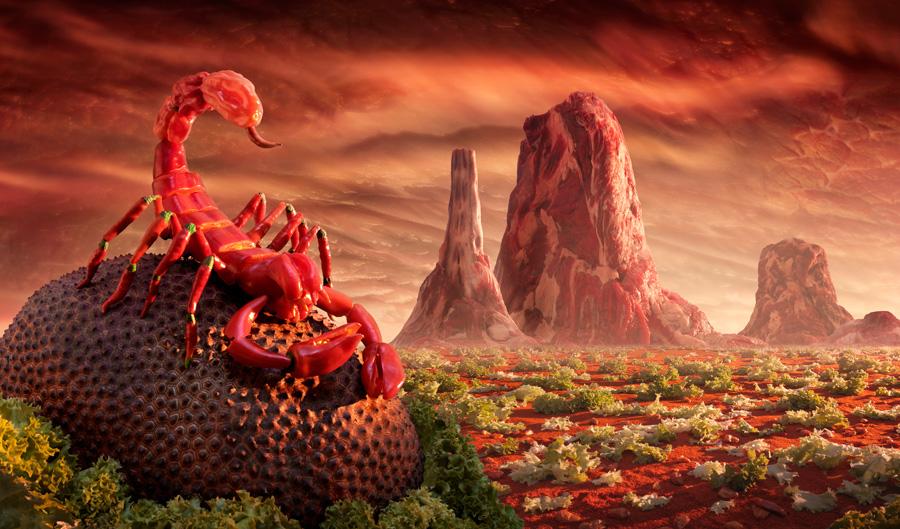 Red-Scorpion すべて食べ物でつくった風景写真10