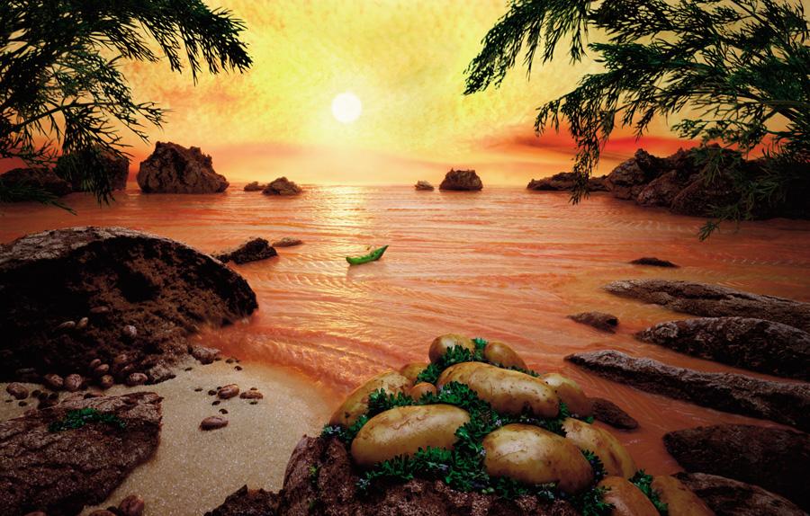 Salmon-Sea すべてが食べ物で出来ている風景画26
