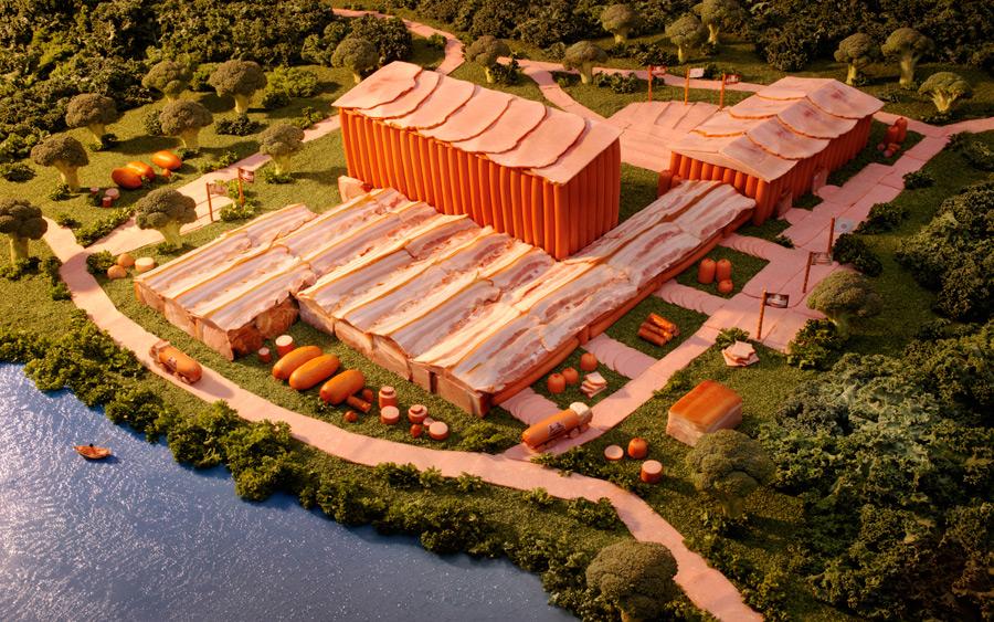 Ukraine-Meat-Factory すべてが食べ物で出来ている風景画30