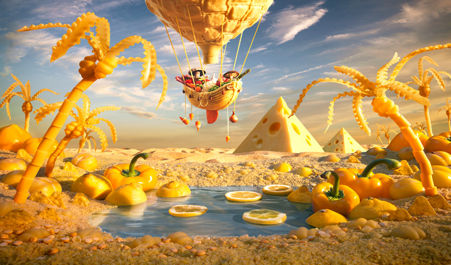 Yellow-Oasis すべて食べ物でつくった風景写真14