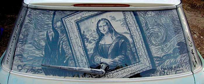 汚れた車に絵を描いた作品「Dirty Car Art」1