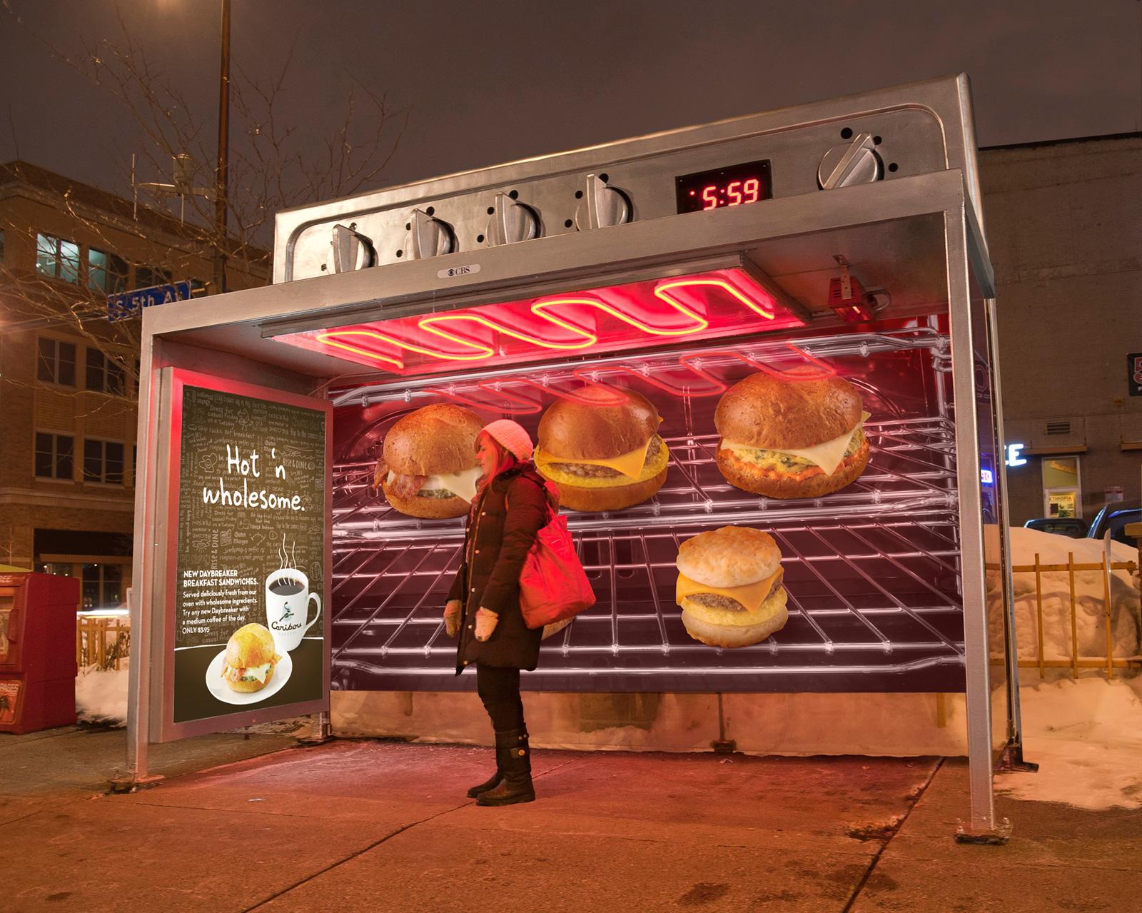 【世界の広告】バス停を使い巨大なオーブンと見立てたカフェの広告