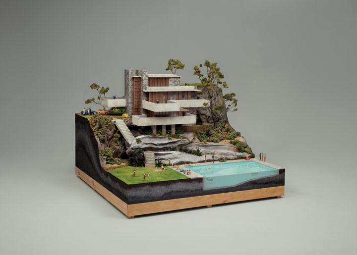 CDのジャケットの為に制作されたミニチュア建築のジオラマ
