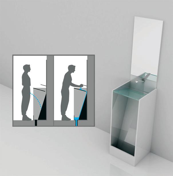 用を足した後、その場で手を洗うことが出来る。トイレと洗面台がひとつになったエコなトイレ。