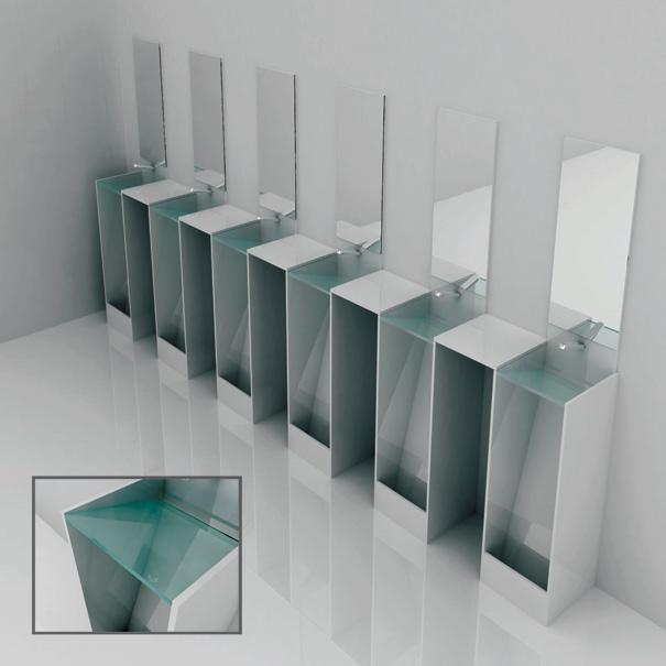 用を足した後、その場で手を洗うことが出来る。トイレと洗面台がひとつになったエコなトイレ。2