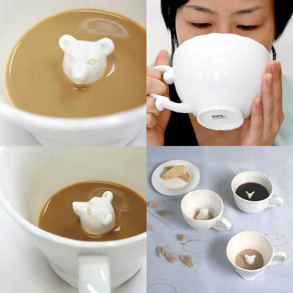 飲むほどにかわいらしい動物が顔をのぞかせるマグカップ「Hidden Animal Teacup」13