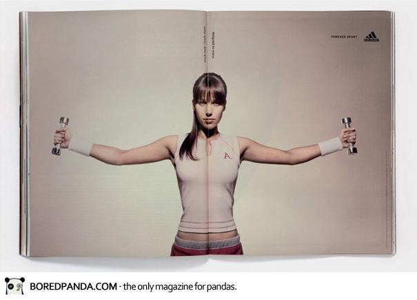 【世界の広告】雑誌の見開きを見事に利用したクリエイティブな広告3