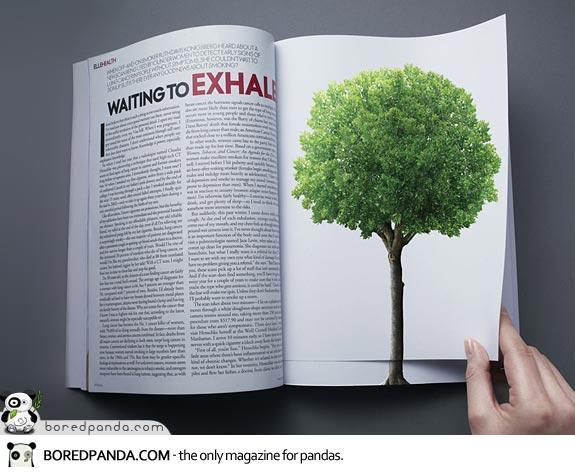 【世界の広告】雑誌の見開きを見事に利用したクリエイティブな広告1