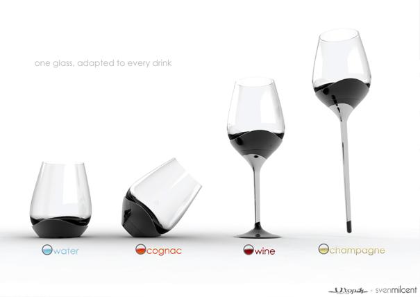 ひとつのグラスで4種類の飲み方が出来るグラス5