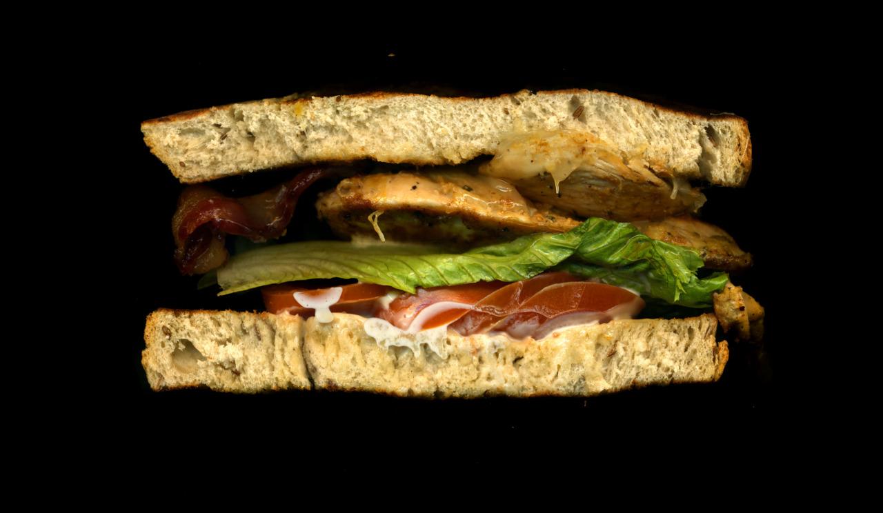 美味しそうなサンドウィッチの断面図16