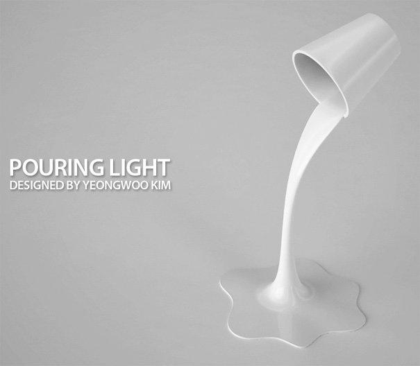 コップから降り注ぐ光をイメージしてつくられたLEDライトスタンド
