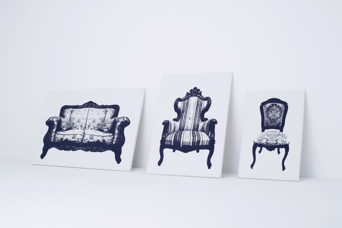 イスの絵が描かれたキャンバス型のイス10