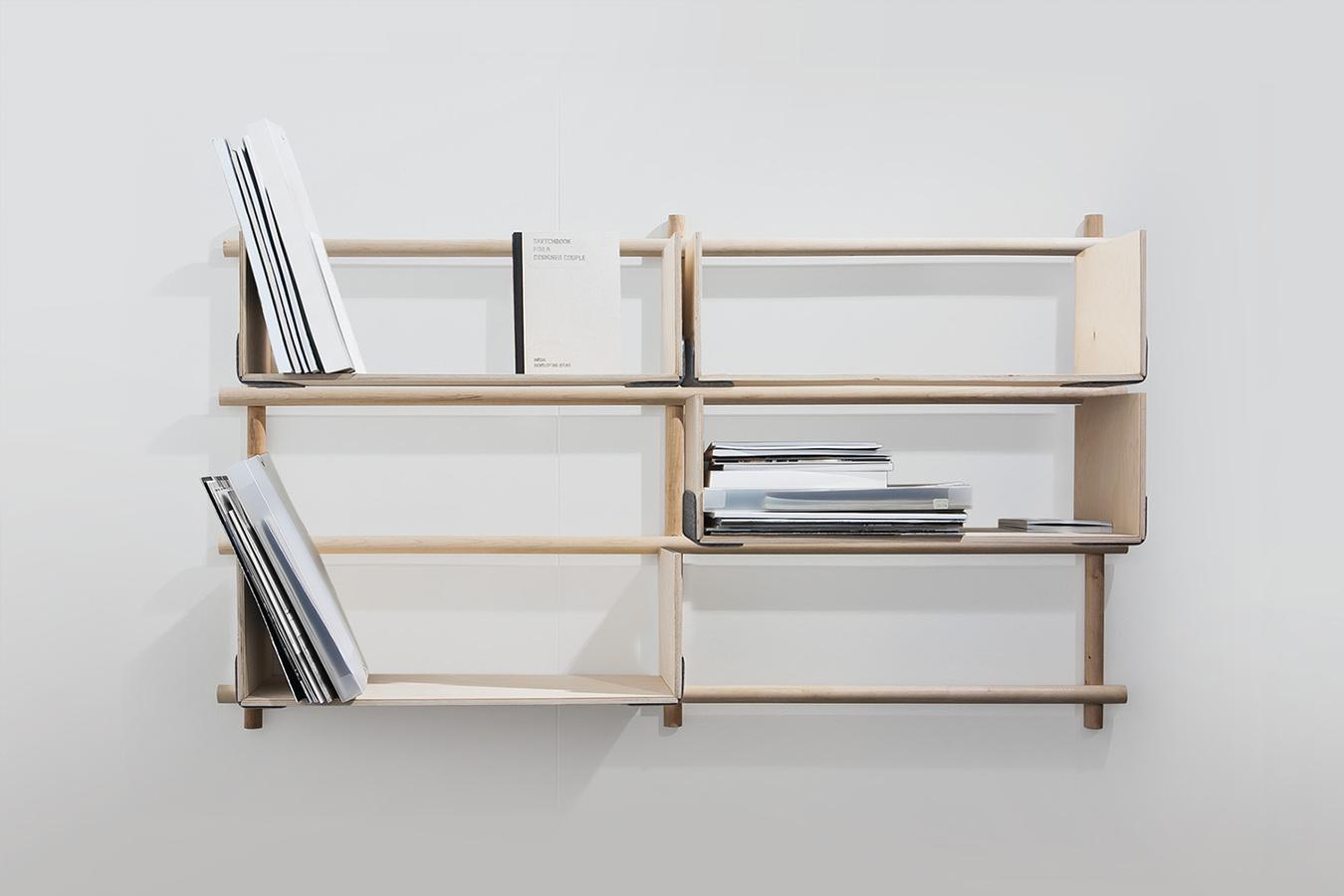 折りたたみ式のフレームワークをつけることにより増設可能な棚「Foldin」3