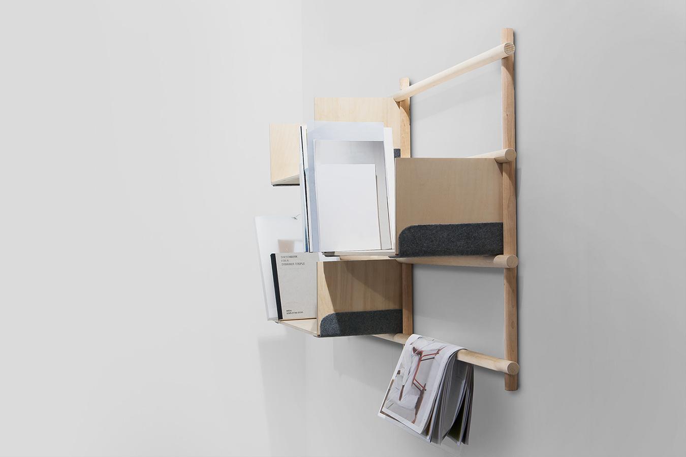 折りたたみ式のフレームワークをつけることにより増設可能な棚「Foldin」5