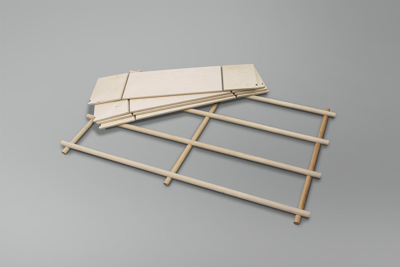 折りたたみ式のフレームワークをつけることにより増設可能な棚「Foldin」7