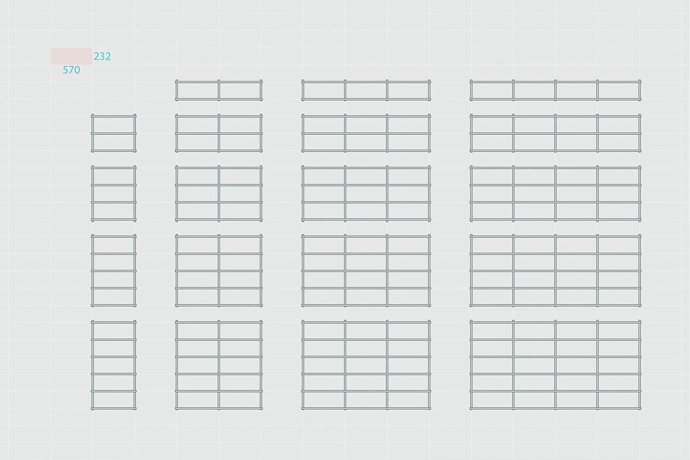 折りたたみ式のフレームワークをつけることにより増設可能な棚「Foldin」8