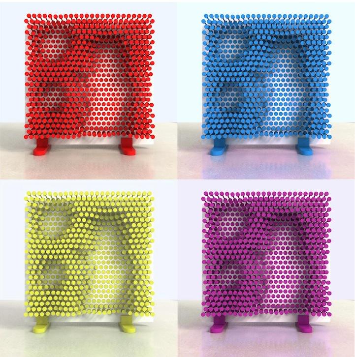 ピンを押し込むことで自由な形の棚をつくることが出来る棚「PINPRES」4