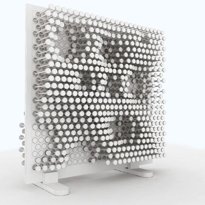 ピンを押し込むことで自由な形の棚をつくることが出来る棚「PINPRES」5