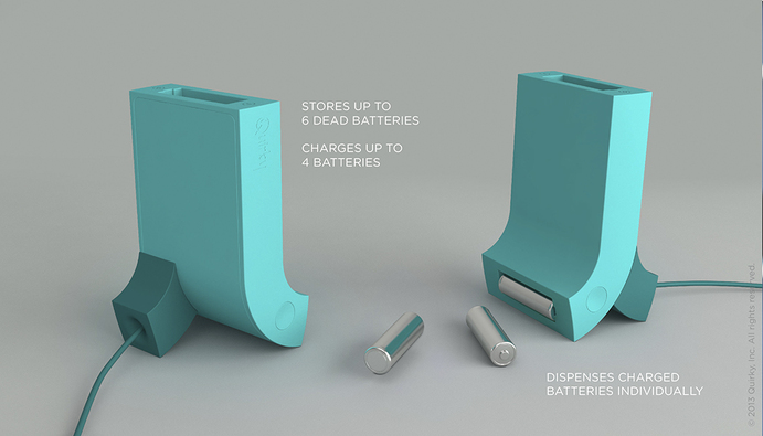 上から電池を入れ、電池が充電されると下から自動でコロッと出てくるスタイリッシュな充電器「Powerchute」5