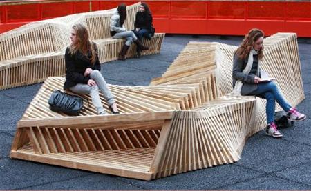 クールでスタイリッシュなデザインのベンチ