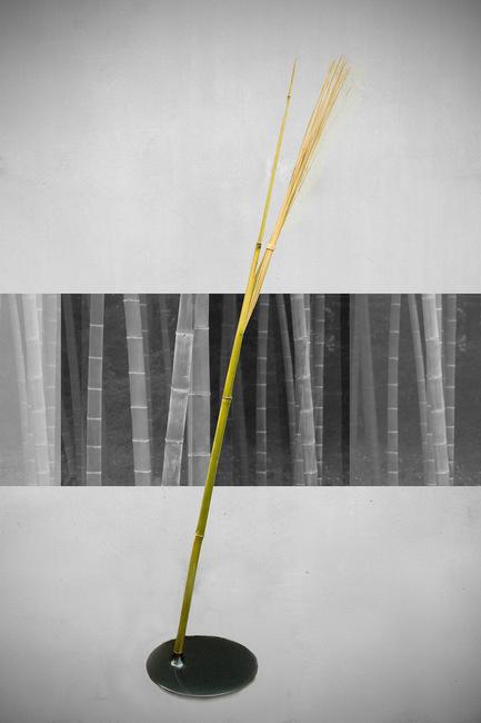 竹で出来た間接照明2