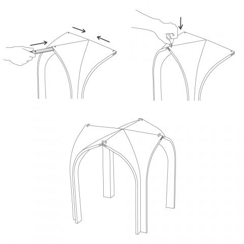 ゴシック様式の建築構造から発想を得て生まれたローテーブルCATHEDRAL2