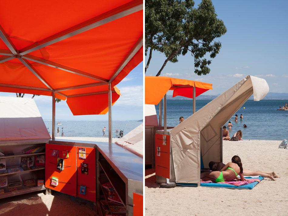 ビーチにある移動式の図書館7