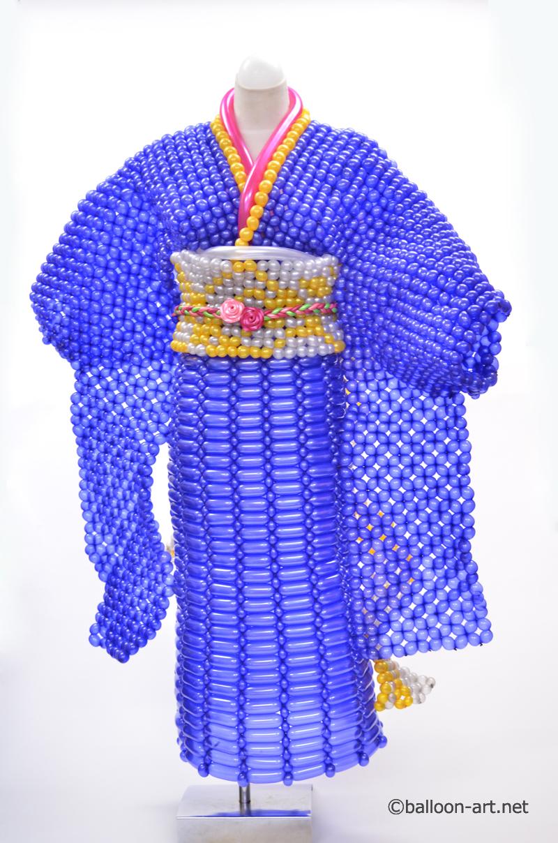 2年に1度開催されるバルーンアートの世界大会で優勝した着物の繊細な質感を見事に表現した着物のバルーンドレス8
