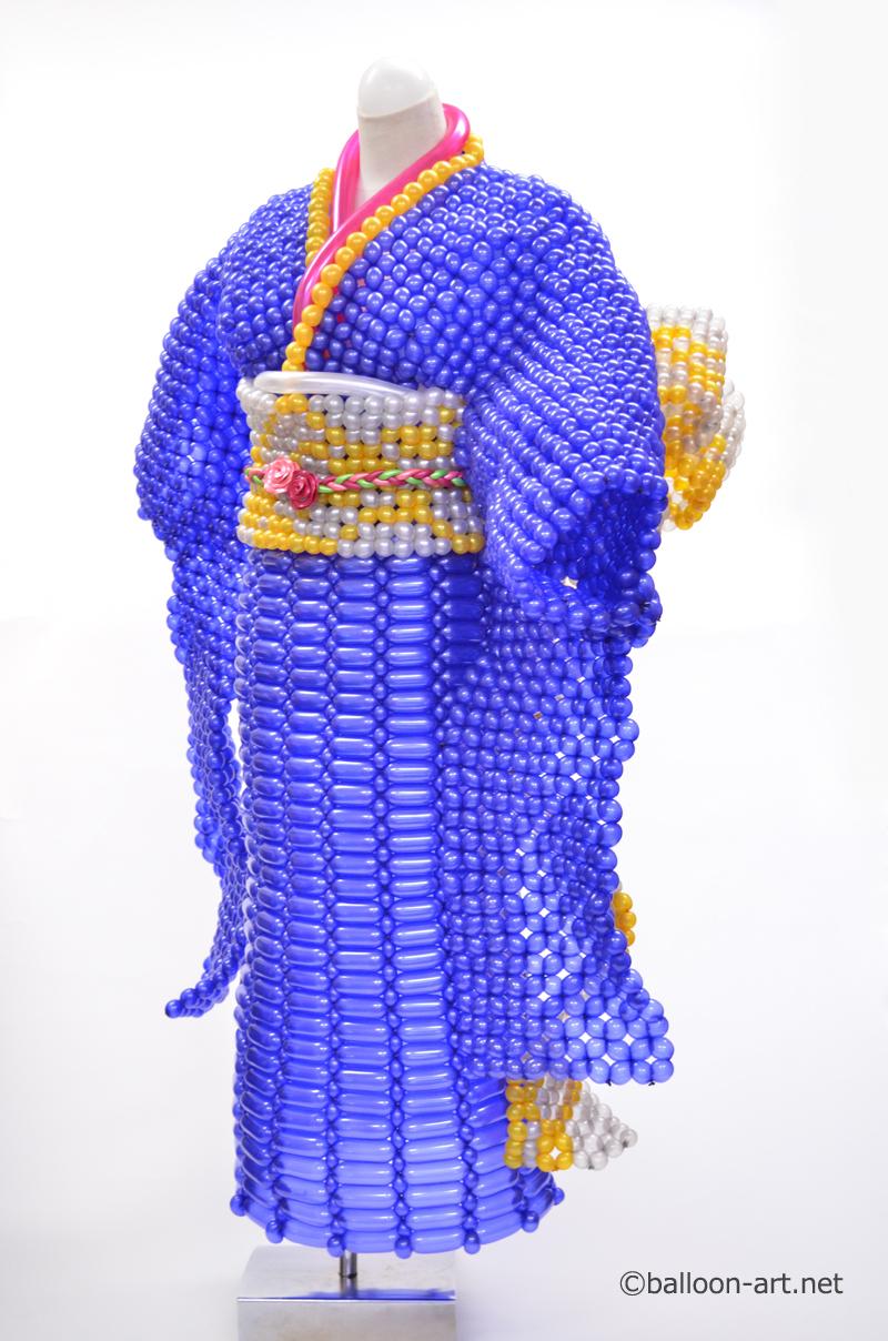 2年に1度開催されるバルーンアートの世界大会で優勝した着物の繊細な質感を見事に表現した着物のバルーンドレス7