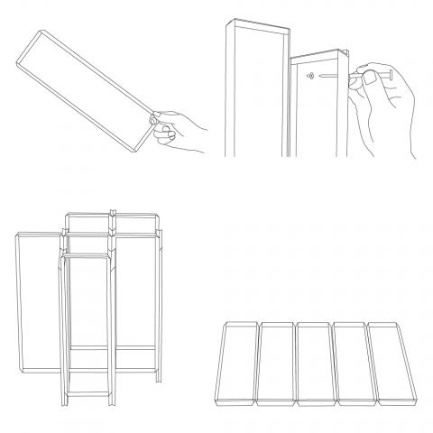 直角アングル材を組み合わせて、紙を折ったようなフレーム状にすることで、強く軽やかな構造体のテーブル「MITER」2
