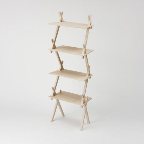 パーツの連結部で交わる二本の支柱と天板がお互いを支え合う、強固な三角構造の棚「PROP」