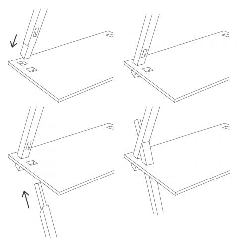 パーツの連結部で交わる二本の支柱と天板がお互いを支え合う、強固な三角構造の棚「PROP」2