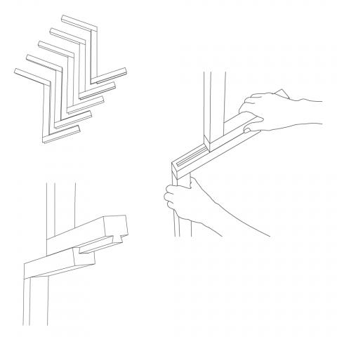 パーツ同士をスライドさせて組み立てることができる、ノックダウン式のコートスタンド「Design Soil」2